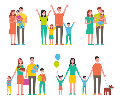 Happy Families Set, Vector Icon in Cartoon Style